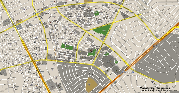 Makati Central Business District, show adjacent villages and barangays
