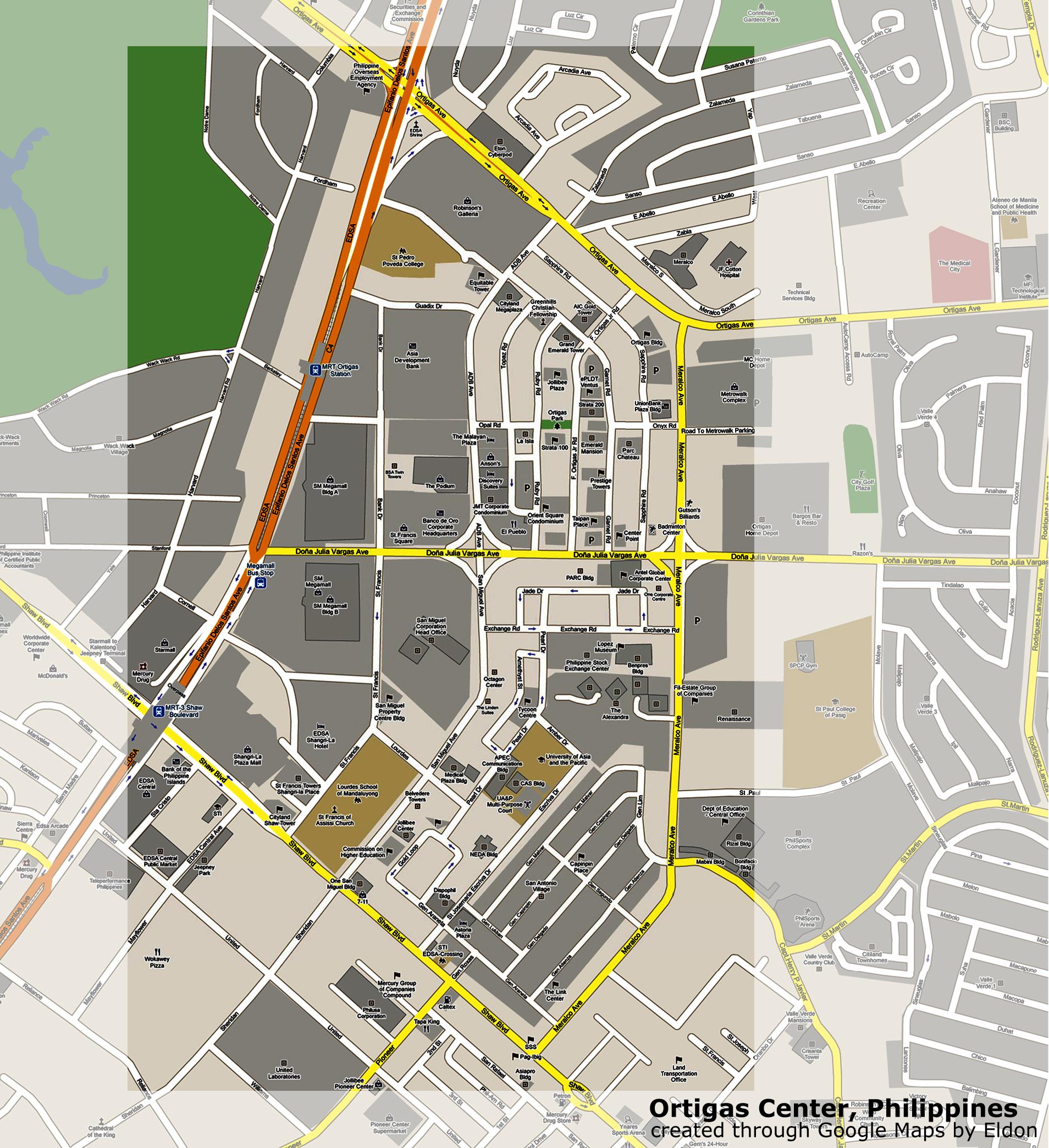 Ortigas Center Business District Map