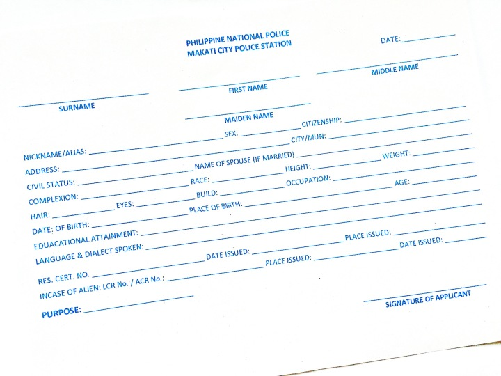 Makati City Police Station Clearance Form