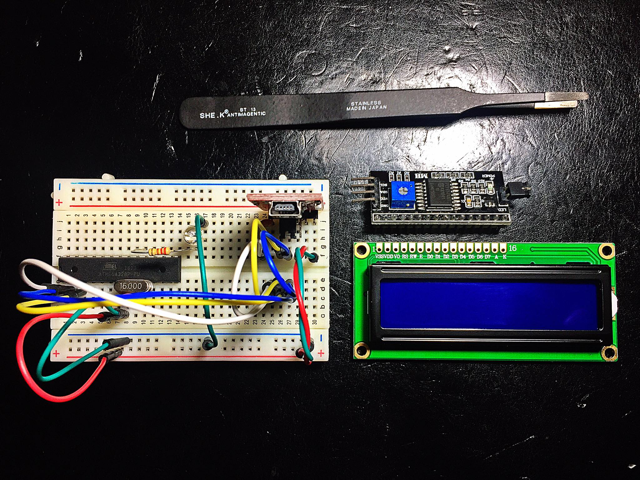 my-first-diy-arduino-board-1602-blue-lcd-module-and-i2c-module